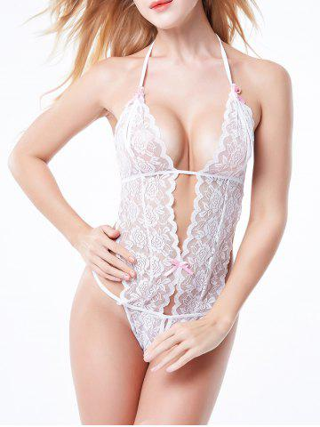 Latest Halter Backless Sheer Lace Teddy