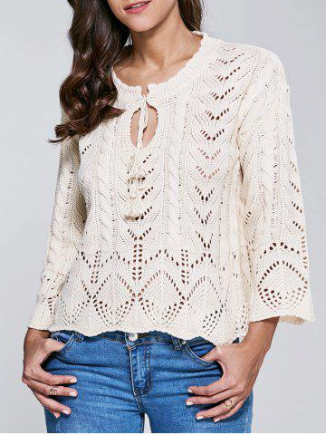 Sale Stand Neck Long Sleeve Hollow Out Sweater