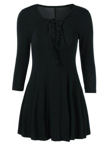 Discount Lace Up 3/4 Sleeve Fit and Flare Dress