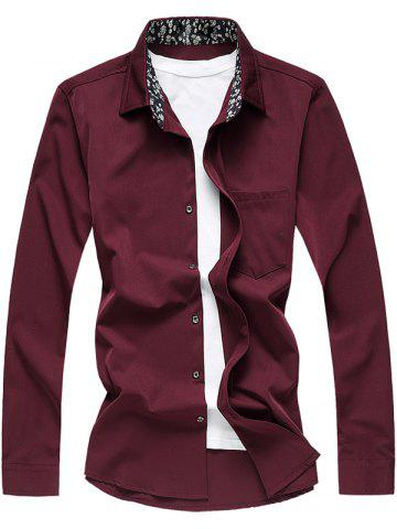 Store Long Sleeve Floral Printed Collar Pocket Shirt CLARET 6XL