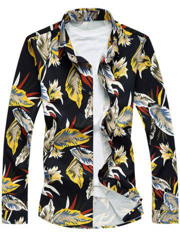 Online Long Sleeve Leaves Printed Shirt