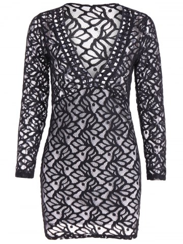 Affordable Openwork Lace Bodycon Dress