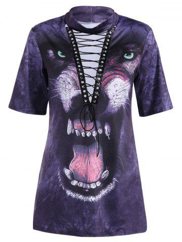 Outfits Lace-Up Animal 3D Print Long T Shirt