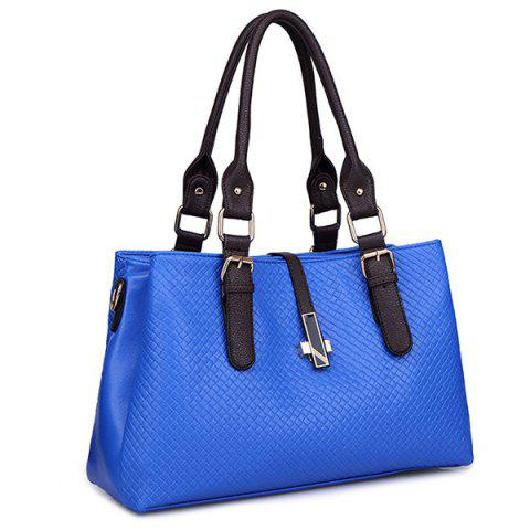 Fashion Braided Buckle Strap ToteBag BLUE