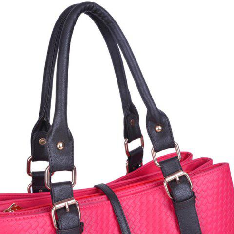 Store Braided Buckle Strap ToteBag - ROSE RED  Mobile