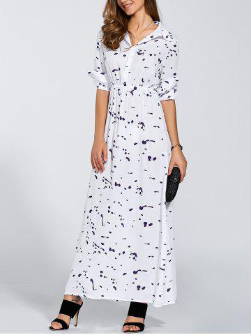 Unique Buttoned High Waist Printed Maxi Dress