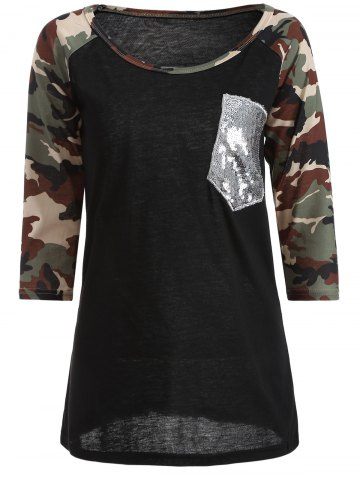 Best Camo Embellished Raglan Sleeve T-Shirt BLACK XL