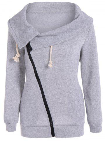 Shop Inclined Zipper Pockets Sweatshirt GRAY XL