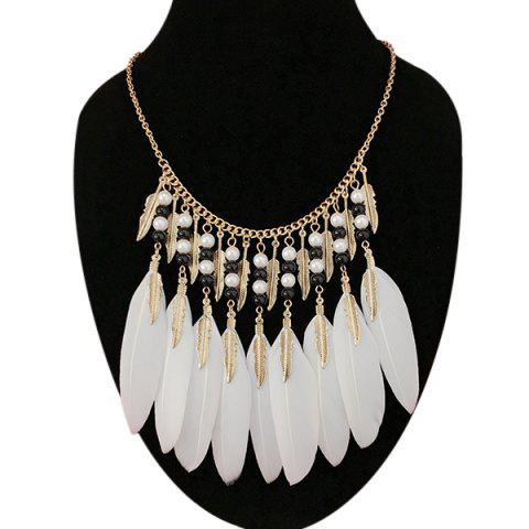 New Leaf Feather Beads Pendant Necklace WHITE