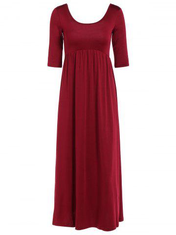 Ruched Empire Maxi Dress - WINE RED XL