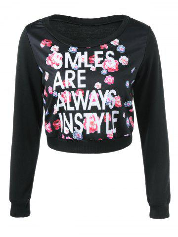 Sale Graphic Floral Print Cropped Sweatshirt
