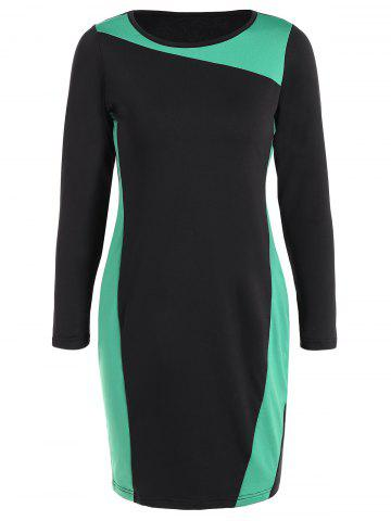 Outfit Sheath Plus Size Long Sleeve Color Block Business Dress GREEN 6XL