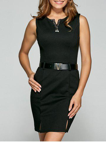 Affordable Belted Split Bodycon Dress