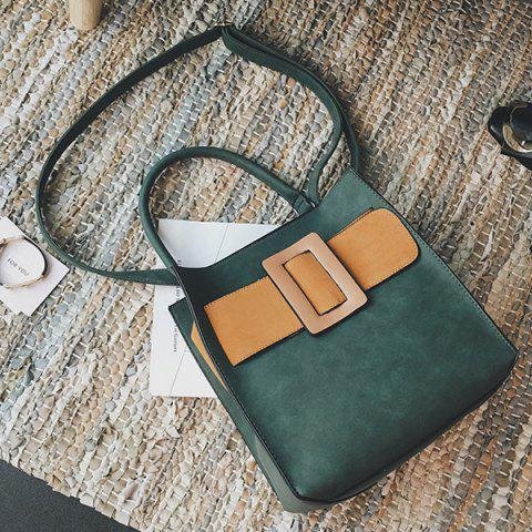 Unique Colour Spliced PU Leather Buckle Tote Bag - ARMY GREEN  Mobile
