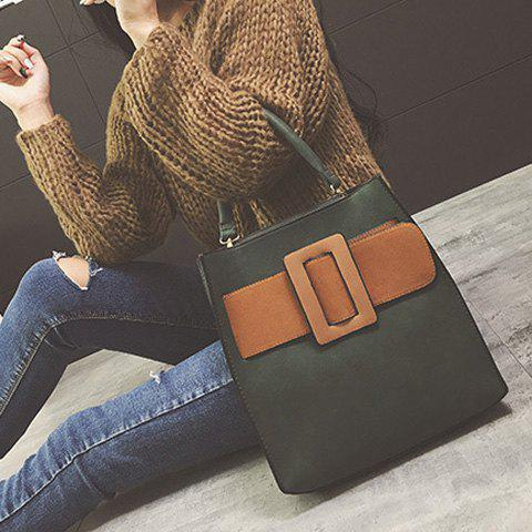 Discount Colour Spliced PU Leather Buckle Tote Bag - ARMY GREEN  Mobile