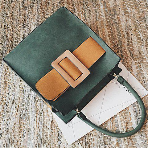 Fashion Colour Spliced PU Leather Buckle Tote Bag - ARMY GREEN  Mobile
