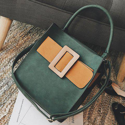 Shop Colour Spliced PU Leather Buckle Tote Bag - ARMY GREEN  Mobile