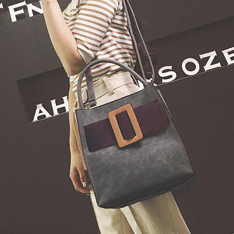 Shop Colour Spliced PU Leather Buckle Tote Bag - GRAY  Mobile