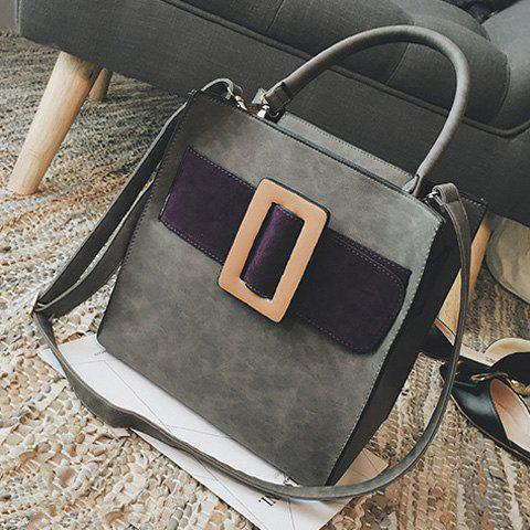 Fashion Colour Spliced PU Leather Buckle Tote Bag - GRAY  Mobile