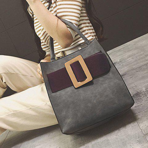 Discount Colour Spliced PU Leather Buckle Tote Bag - GRAY  Mobile