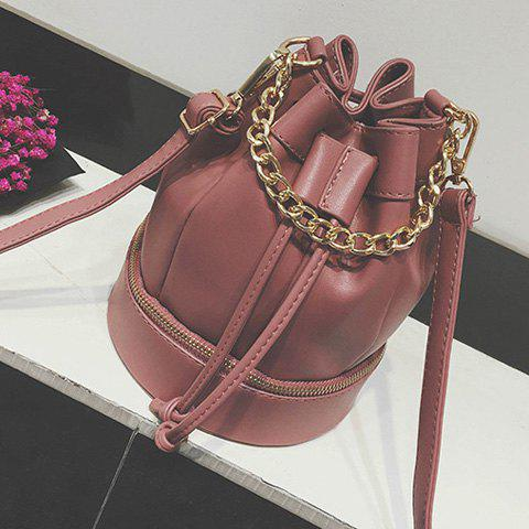 Zipper Drawstring Chain Crossbody Bag - Deep Pink