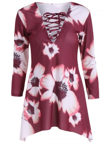 Shop Lace-Up Flower Print Dress
