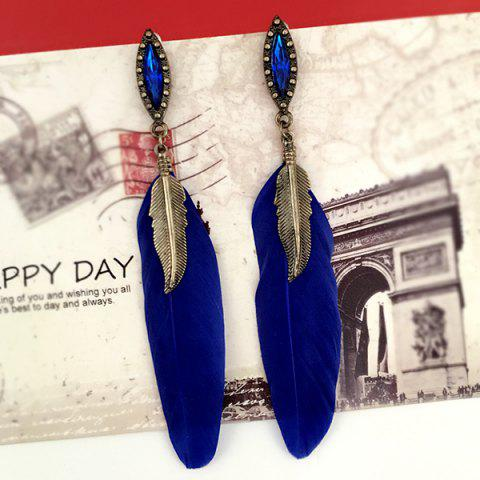 Hot Feather Leaf Fake Gem Earrings BLUE