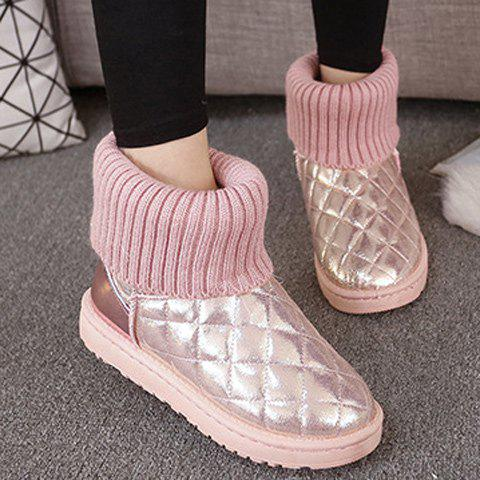 Cheap Splicing Knitting Argyle Pattern Snow Boots PINK 39
