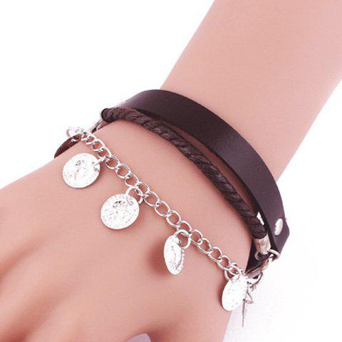 Store Faux Leather Layered Coin Tassel Bracelet