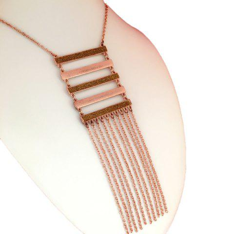 New Long Tassel Rhinestone Stairway Necklace ROSE GOLD