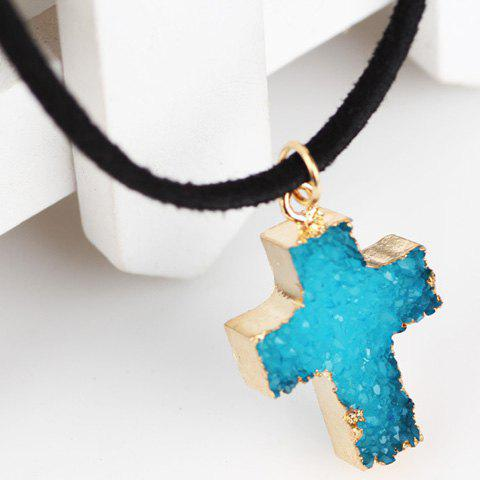 New Faux Crystal Stone Healing Cross Pendant Necklace - LAKE BLUE  Mobile