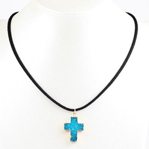 Sale Faux Crystal Stone Healing Cross Pendant Necklace - LAKE BLUE  Mobile