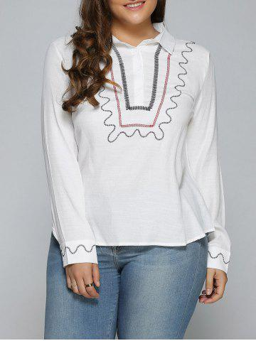 New Plus Size Embroidered Trim Shirt