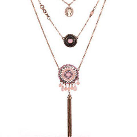 Affordable Layered Medallion Coin Pendant Necklace SHALLOW PINK