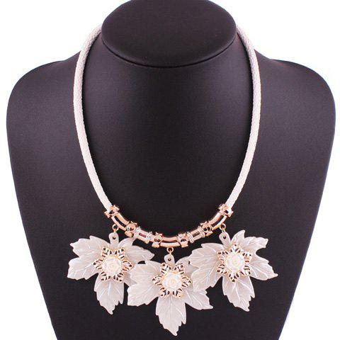 Fashion Resin Maple Leaf Pendant Necklace CRYSTAL CREAM