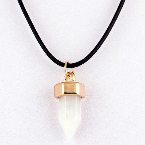 Natural Hexagon Stone Pendant Necklace - Crystal Cream - W71 Inch * L91 Inch