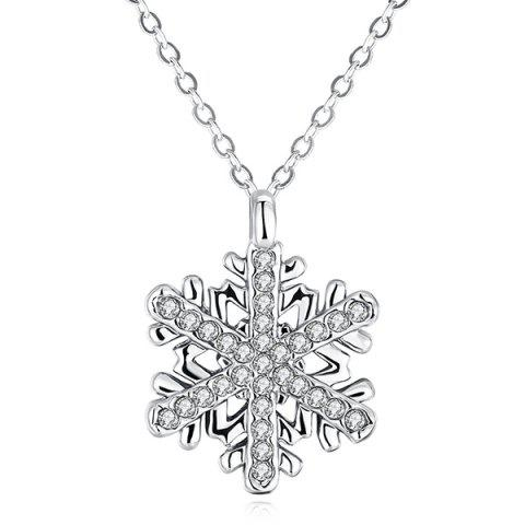 Outfit Polished Rhinestone Snowflake Pendant Necklace SILVER