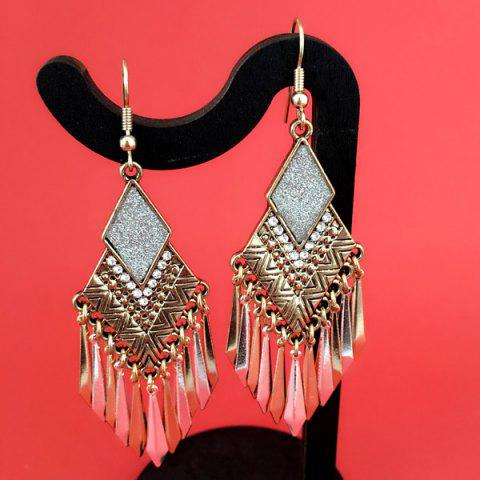 Chic Rhinestone Rhombus Tassel Drop Earrings GOLDEN