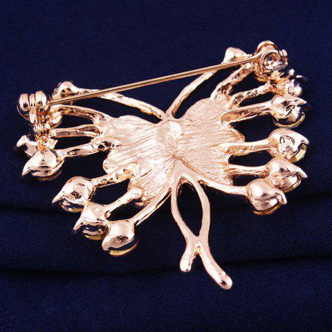 Affordable Polished Filigree Rhinestone Butterfly Brooch - ROSE GOLD  Mobile