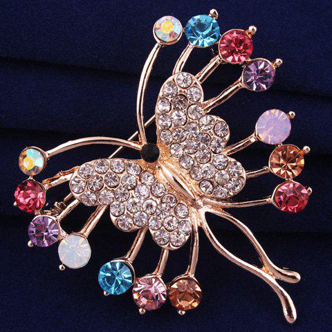 Fashion Polished Filigree Rhinestone Butterfly Brooch - ROSE GOLD  Mobile