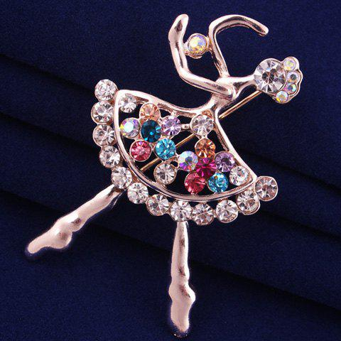 Affordable Filigree Openwork Rhinestone Dancing Girl Brooch - ROSE GOLD  Mobile