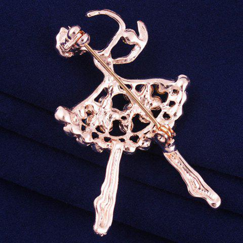 Fancy Filigree Openwork Rhinestone Dancing Girl Brooch - ROSE GOLD  Mobile