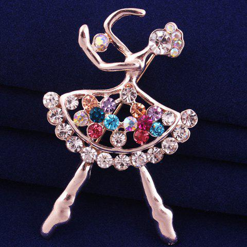 Cheap Filigree Openwork Rhinestone Dancing Girl Brooch - ROSE GOLD  Mobile