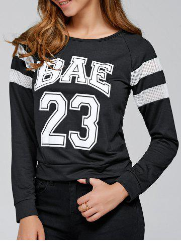Buy Raglan Sleeve Letter Print Pullover Sweatshirt BLACK XL