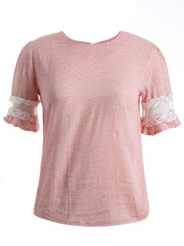 New Ruffled Striped Lace Spliced T-Shirt