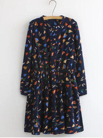 Outfits Plus Size Button Design Leaf Print Dress