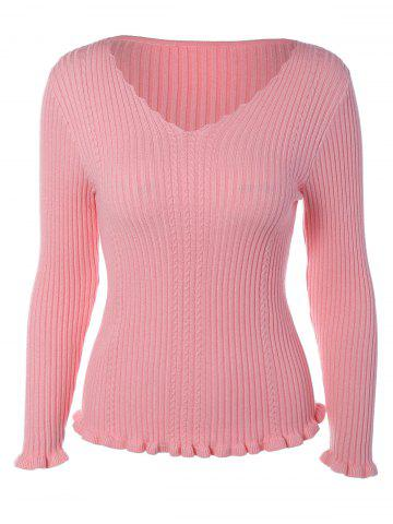 Sale Flounced V-Neck Knitwear