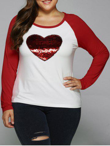 Trendy Sequined Heart Raglan Sleeve T-Shirt RED/WHITE XL