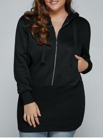Plus Size Zip Up Hooded Dress - Black - 3xl