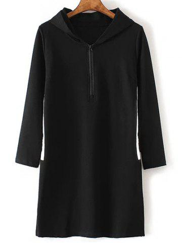 Store Plus Size Zippered Contrast Side Slit Hoodie